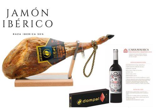 Jamón Origen Cebo 50% Raza Ibérica + Vino Carravalseca